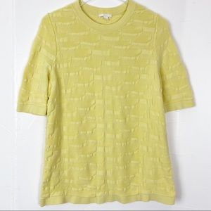 COS Pale Yellow Short Sleeve Sweater Top